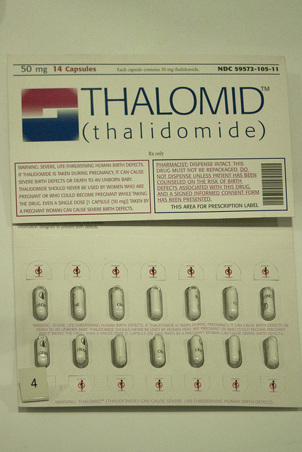 thalidomide A a synthetic drug formerly used as a sedative and hypnotic but withdrawn from the market when found to cause abnormalities in developing fetuses.