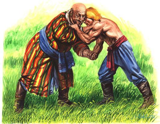 Богатырский бой Кожемяки с печенежским великаном