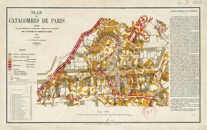 Карта Парижских катакомб