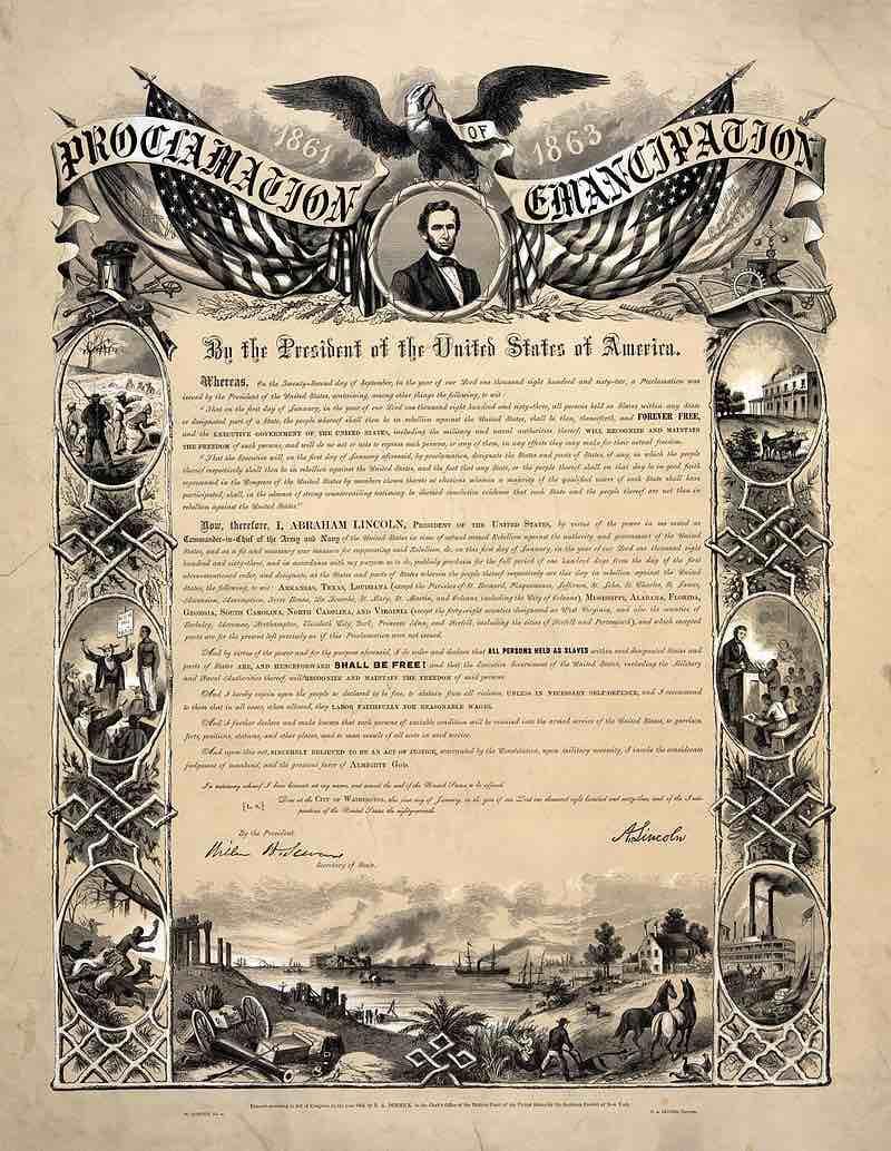 Манифест Линкольна об освобождении рабов.